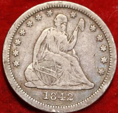 1842-O New Orleans Mint Silver Seated Liberty Quarter