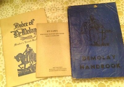 Vintage Order Of Demolay Handbook, Member Record Book & Scottish Rite Bylaws