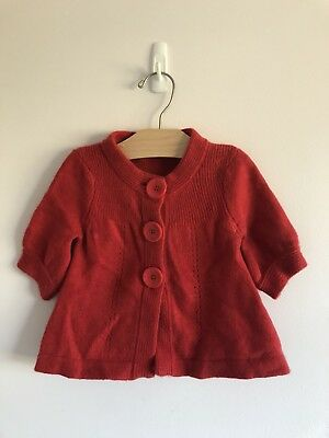 Country Road Red Wool Baby Girl Cardigan Size 2