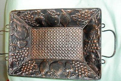 Arts and crafts/old, embossed copper, pierced fruit tray -great cond