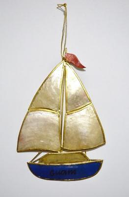 "5"" Hand Painted Guam Capiz Shell Sailboat Christmas Tree Ornament"
