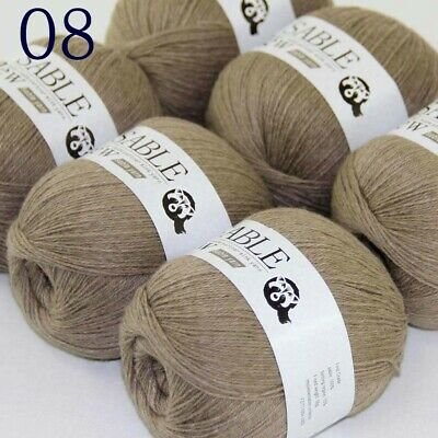 Sale 6 Skeins Super Pure Sable Cashmere Scarves Hand Knit Wool Crochet Yarn 08