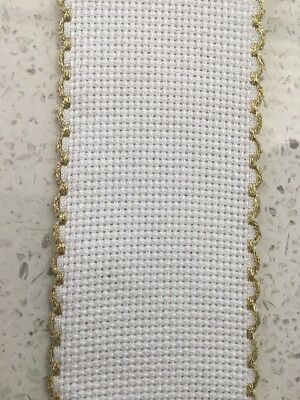 Zweigart Aida Band 5cm Wide 14 Count White with Gold trim - Cut To Size