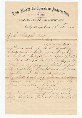 1885 Dalby Springs Texas - Tom Milam Co-Operative Assoc Letter