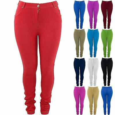 Plus Size Ladies Womens Plain Skinny Fit Denim Jeans Stretchy Leggings Jeggings