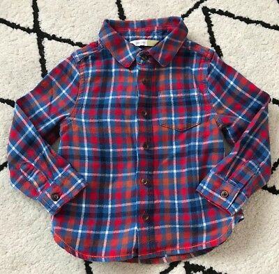 John Lewis Baby Boy Red Blue Check Shirt 12-18 Months