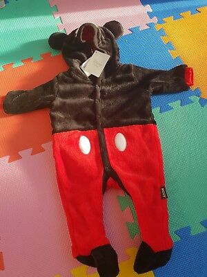 Disney Mickey Mouse All In One Fleece BNWT 0-3 months