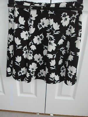 65f54d88ed Ladies Black/White Floral Belted Mini Skirt by George at Asda size 12.