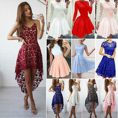 UK Women Evening Formal Party Ball Gown Prom Bridesmaid Short Mini Dress Lace