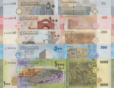 Syria 5 Note Set: 50 to 1000 Pounds (2009-2013) p112-116 UNC