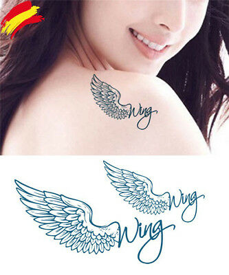 Tattoo Alas Wings Plumas Angel Regalo Tatuaje Pegatina Tatu Tatoo Calcomania