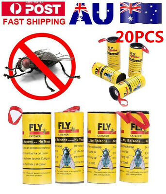 20 Rolls Sticky Fly Trap Paper Yellow Traps Fruit Flies Insect Glue Catcher