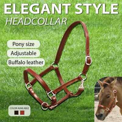 vidaXL Real Leather Headcollar Halter Adjustable Black/Brown Multi Sizes