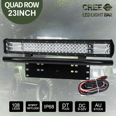 23inch CREE LED Light Bar Quad Row Combo Beam & Black Plate Frame & DT Wiring