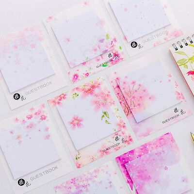 Cherry Blossom Sticky Note Students Memo Pad Stickers Office Stationary Supplies