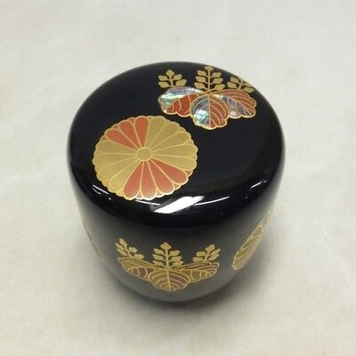F131: Japanese lacquered powdered tea container with traditional KODAIJI MAKIE