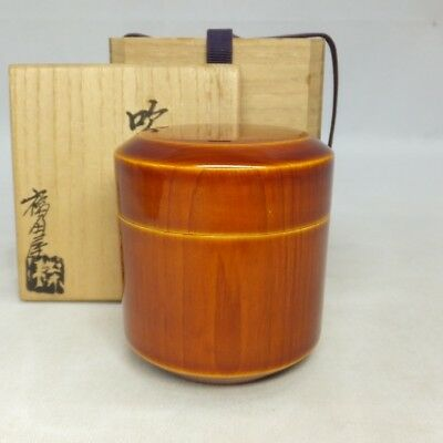F132: Japanese SHUNKEI lacquer ware powdered tea container with signed box