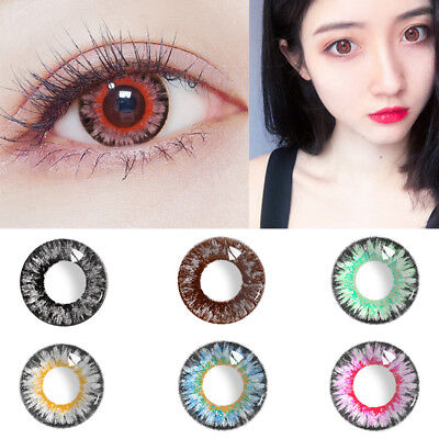 1Pair Womens Multicolor Circle Colored Contact Lenses Yearly Use Eye Makeup Moda