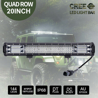 20inch CREE LED Light Bar SPOT FLOOD Offroad 12V 4x4 Driving Work Bars Quad Rows