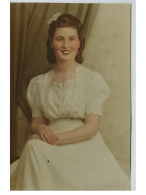 1940s photograph, large vintage hand coloured sepia,  bride or debutante