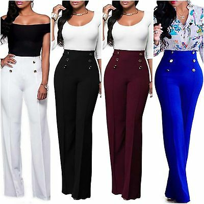 Womens High Waist Plain Palazzo Wide Leg Flared Ladies Trousers OL Pants Casual