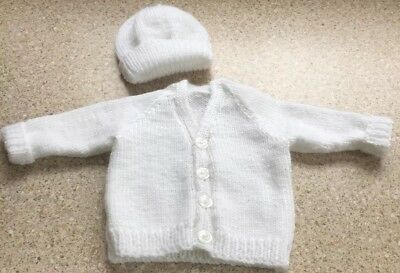 New hand knitted white v-neck cardigan with hat 0-3months