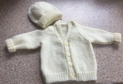 New hand knitted Cream v-neck cardigan with hat 0-3months