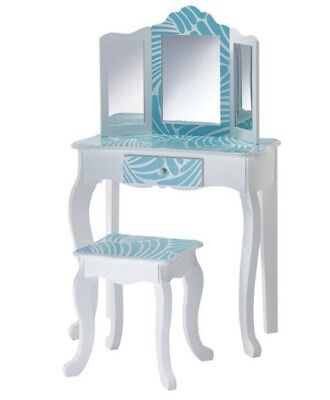 Girls Wooden Vanity Table & Stool Make Up Table Blue Tropical Role Play Pretend