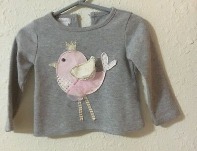 Mud Pie Size 12-18 M Long Sleeve Grey Shirt With 3D Appliqued Pink Bird LNC