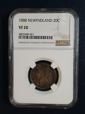 1888 Newfoundland Twenty Cents NGC VF20 SILVER 20C Coin PRICED TO SELL NOW!