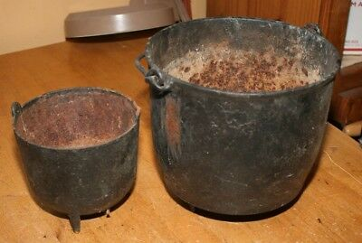 Lot 2 Antique Cast Iron Black 3 Footed Handled Bean Kettle Cauldron