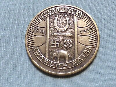 Rare 1933 - 1934 Chicago World's Fair Token With Swastika Image - Item 260