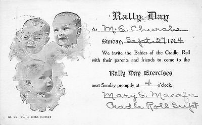 Wheaton Illinois~ME Church Rally Day Invitation~Babies of Cradle Roll~1914 B&W