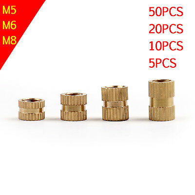 M8x12-10mm Brass Knurled Threaded Nut Insert Embedded Nuts Gold Tone 20Pcs UK