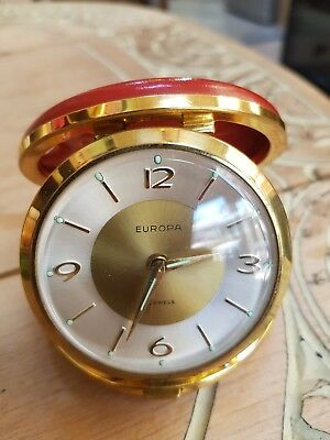 Vintage Europa Travel Alarm Clock-7 Jewels
