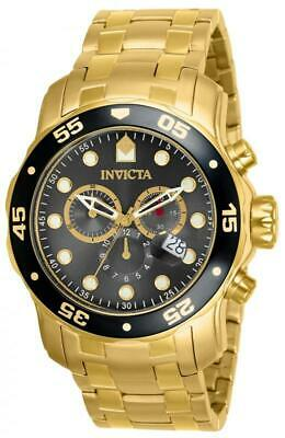 Invicta Men's Watch Pro Diver Chronograph Charcoal Dial Gold Tone Bracelet 80064