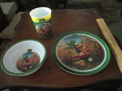 JOHN DEERE CHILDS TABLE PLACE SETTING GIBSON 3pc bowl plate cup PUPPY FARM SCENE
