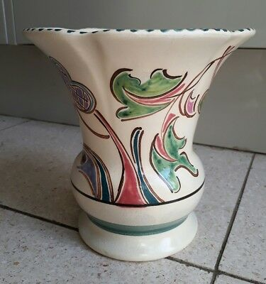 "Vintage Honiton Pottery Vase ""MONKTON"" Design - VGC - no chips or cracks"