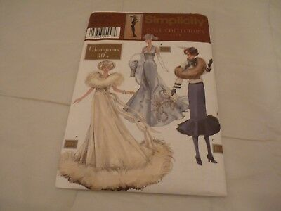 """Simplicity 9704 Pattern Barbie Doll Collector's Club GLAMOROUS 30's 11.5"""" NEW"""