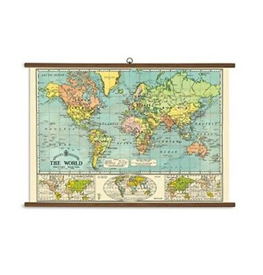 Giant World Map for Kids Big Wall Poster Vintage Chart Old School Hanging Decor