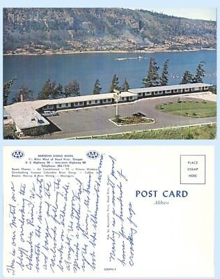Aerial View Meredith Gorge Motel Columbia River Oregon Advertising Postcard