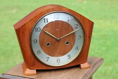"""Beautiful Working Smiths Chiming 8"""" Tall Key Wound Mantle Clock"""