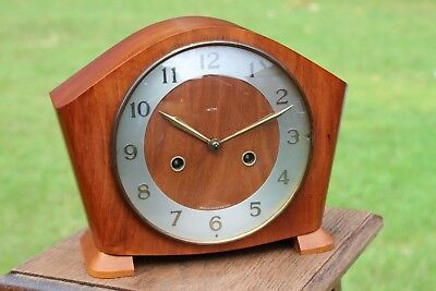"""Beautiful Working Smiths Westminster  Chime 8"""" Tall Key Wound Mantle Clock"""