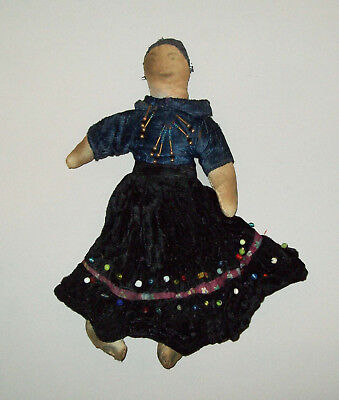 Antique vtg 19th C 1880's Native American Indian Navajo Cloth Doll Brass Necklac