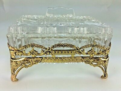 Vintage Art Deco French Covered GLass and Ormolu Dresser Box