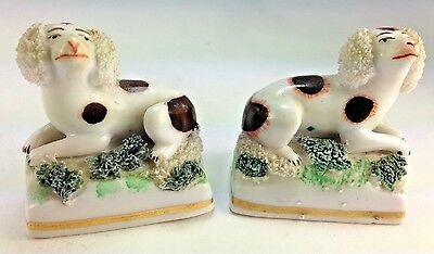 Rare Matched Pair (2) Antique Hand Painted CHELSEA Porcelain Dog Figurines
