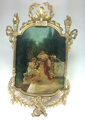 Antique French Doré Bronze High Relief Picture Frame Hand Painted Garden Scene
