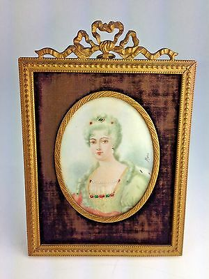 Antique Miniature Hand Painted Portrait French Royal Madam  Signed Marc
