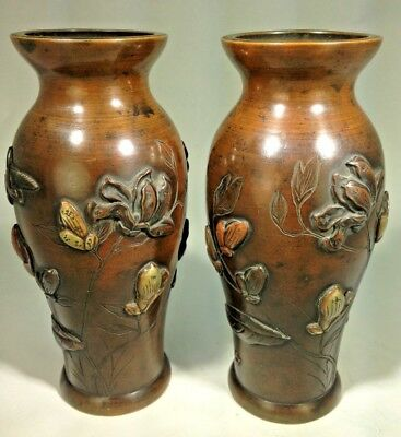 Antique Superb  Japanese Two Late Meiji High Relief Bronze Mixed Metal Vases