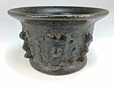 Antique Cast Bronze/Metal Mortar/Pestle Cherubic Faces Around Outside of Body